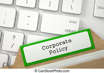 Card Index with Corporate Policy. 3D. - Green Index Card...