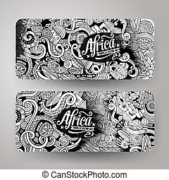Cartoon cute vector doodles Africa banners - Cartoon cute...