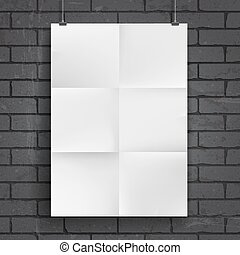 Blank paper poster on brick wall background. Place your...
