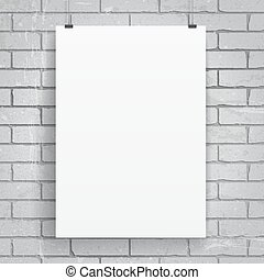 Blank paper poster on brick wall background. Vector eps-10.