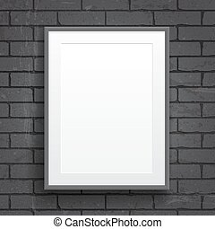 Blank paper poster with frame on brick wall background...