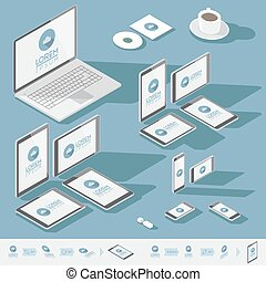 Isometric corporate identity template - Corporate identity...