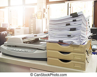 Business workload concept. Pile of unfinished business documents on office desk