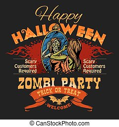 Halloween Party Flyer with Illustration of Female Zombie...