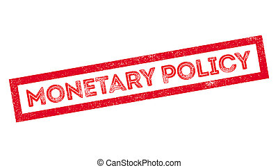 Monetary Policy rubber stamp on white. Print, impress,...