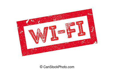 Wi-Fi rubber stamp on white. Print, impress, overprint.