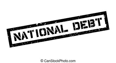 National Debt rubber stamp on white. Print, impress,...