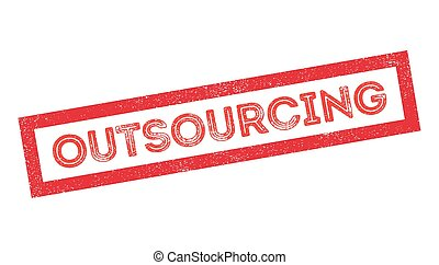 Outsourcing rubber stamp on white. Print, impress,...