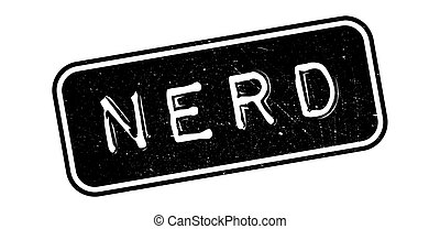 Nerd rubber stamp on white. Print, impress, overprint.