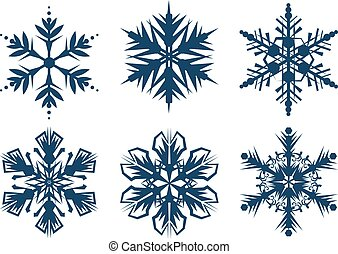 Set of 6 snowflakes. Isolated