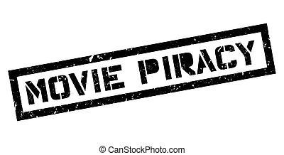 Movie Piracy rubber stamp on white. Print, impress,...