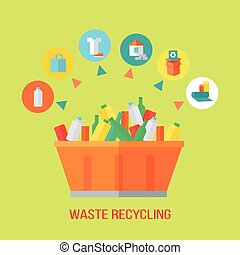 Waste Recycling Process. Rubbish Bin - Waste recycling...