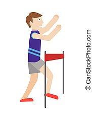 Runner on Finish Flat Style Vector Illustration - Runner on...