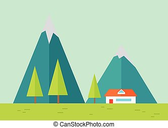 Mountains Landscape in Flat.