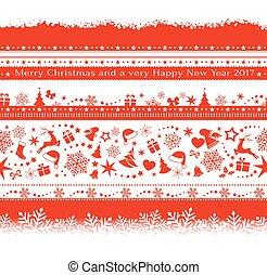 Set of various seamless Christmas borders