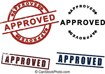 Approved sign rubber stamp set
