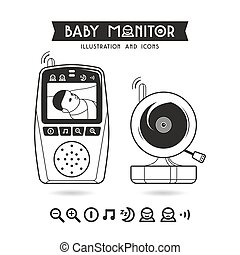 Stock vector illustration of baby monitor and icons....