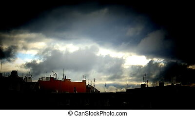 Dramatic sky with real stormy clouds - time lapse - Dramatic...