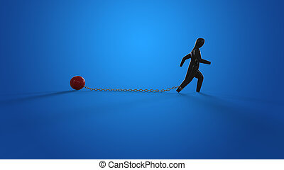 Chain and ball - 3D Illustration