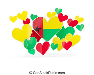 Flag of guinea bissau, heart shaped stickers on white. 3D...