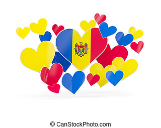 Flag of moldova, heart shaped stickers on white 3D...