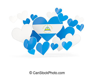 Flag of nicaragua, heart shaped stickers