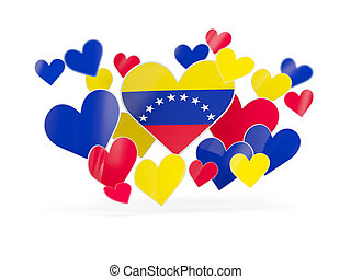Flag of venezuela, heart shaped stickers on white. 3D...