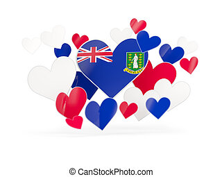 Flag of virgin islands british, heart shaped stickers on...