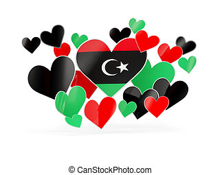 Flag of libya, heart shaped stickers on white 3D...