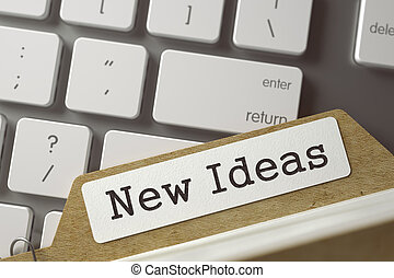 Card File with New Ideas. 3D. - New Ideas written on File...