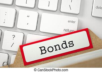 File Card with Inscription Bonds. 3D. - Red Folder Register...