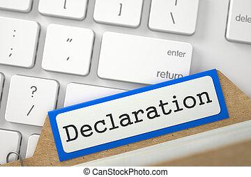Folder Register with Declaration. 3D. - Orange Card Index...