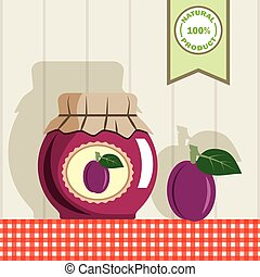 plum jam. color illustration - jar with jam and plum on the...