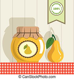 pear jam color illustration - jar with jam and pear on the...