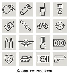 Vector black line military icons set