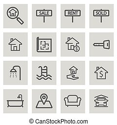Vector black line real estate icons set
