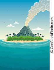 Tropical Island - Tropical island with smoking volcano.