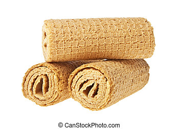 Wafer rolls on a white background