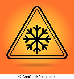 Ice Road Safety Sign Icon Illustration
