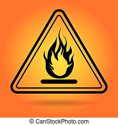 Fire Danger Safety Sign Icon Flat Illustration