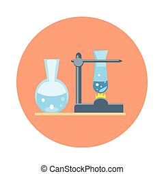 Flask Chemistry Reaction Experiment Icon Flat Vector...