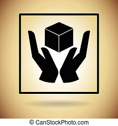Package Icon Protection Fragile Sign Flat Vector...
