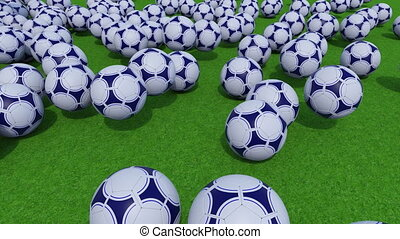 Many football balls rolling and bouncing on green grass field. 4K ProRes clip