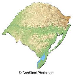 Relief map - Rio Grande do Sul (Brazil) - 3D-Rendering -...