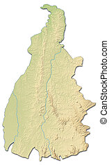 Relief map - Tocantins (Brazil) - 3D-Rendering