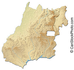 Relief map - Goias (Brazil) - 3D-Rendering