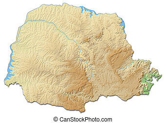 Relief map - Parana (Brazil) - 3D-Rendering - Relief map of...