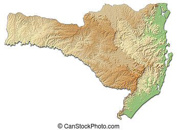 Relief map - Santa Catarina (Brazil) - 3D-Rendering