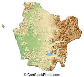 Relief map - Araucania (Chile) - 3D-Rendering