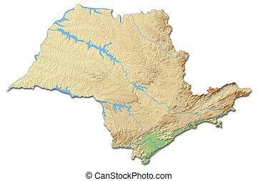 Relief map - Sao Paulo (Brazil) - 3D-Rendering